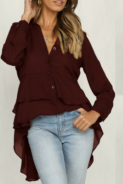 Girls Hot Fashion Simple Plain Lapel Collar Long Sleeve Ruffle Dip Hem Shirt For Women