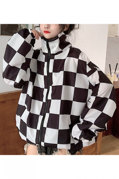 Girls Unique Cool Check Printed Stand Collar Long Sleeve Zip Up Oversized Track Jacket Coat