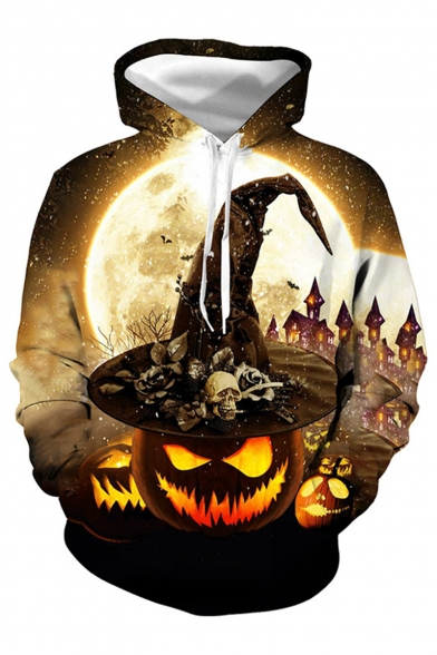 Halloween New Fashion Pumpkin Skull 3D Printed Drawstring Hooded Long Sleeve Khaki Hoodie
