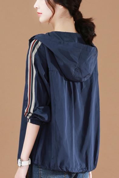 Hooded Style Stripes Panel Sleeve Elasticized Cuffs Zipper Short Jacket