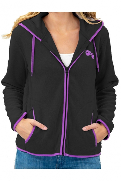 Hot Fashion Casual Leisure Long Sleeve Cartoon Claw Embroidered Stand Collar Zip Up Hoodie