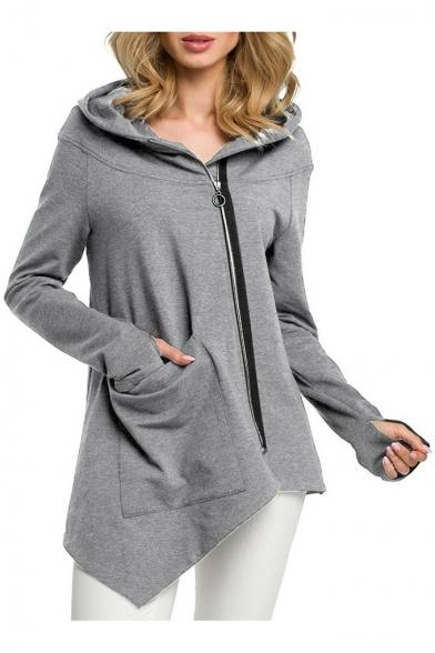 Hot Popular Big Pocket Oblique Zipper Hooded Asymmetric Hem Plain Long Coat
