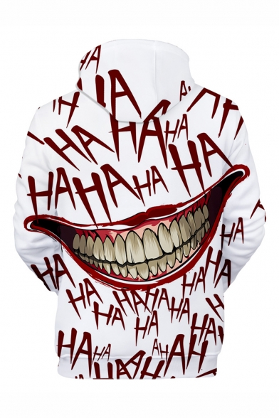 Hot Popular Haha Clown Joker Mouth 3D Printed Long Sleeve White Drawstring Pullover Hoodie