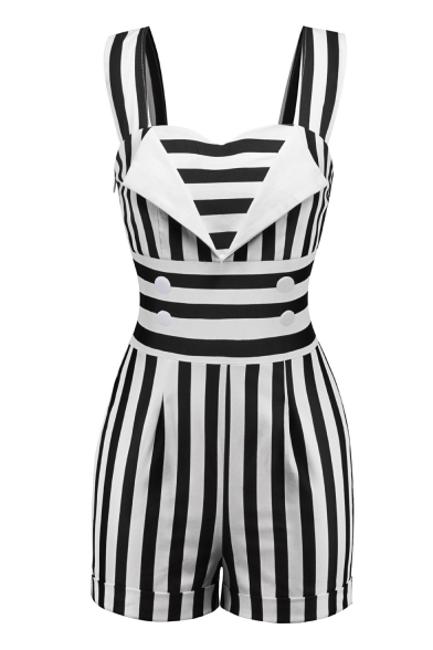 Vertical Striped Printed Straps Sleeveless Rolled Hem Button Embellished Rompers