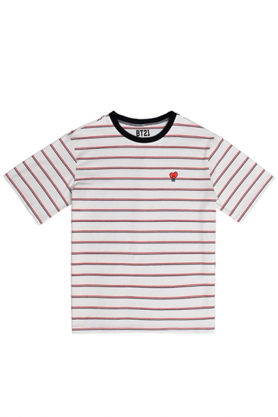Kpop Boy Band Cartoon Heart Embroidery Striped Short Sleeve Casual Tee