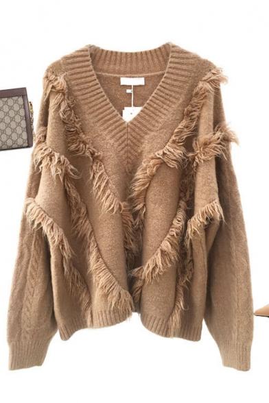 Ladies Stylish Plain Tassel Print V-Neck Long Sleeve Loose Sweater, LM557057, Black;blue;red;khaki