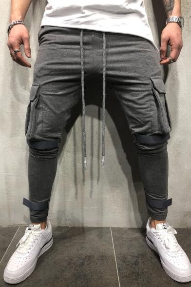 Men's Fashion Flap Pocket Side Velcro Tape Design Simple Plain Drawstring Waist Slim Sports Pencil Pants
