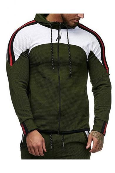 Men's Hot Fashion Colorblock Stripe Pattern Slim Fit Sports Zip Up Drawstring Hoodie
