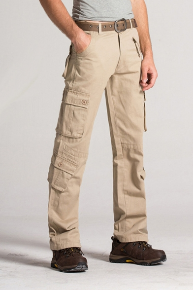 Men's Popular Fashion Solid Color Utility Multi-pocket Straight Cargo Pants