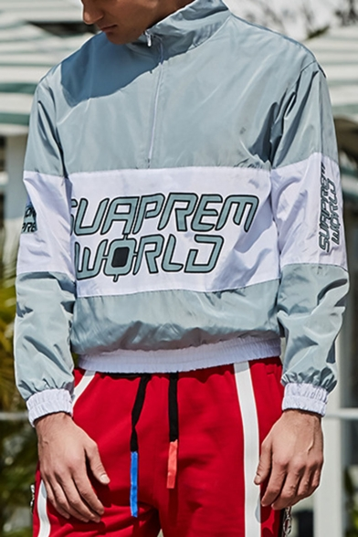 Mens Classic Colorblocked Letter SUAPREM WORLD Print Stand Collared Sport Trench Jacket