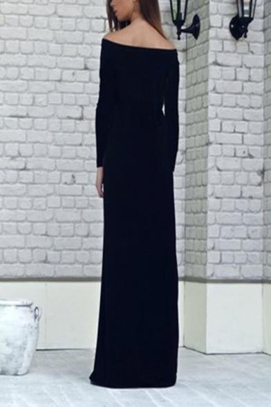 Moslem Fashion Boat Neck Long Sleeve Striped Black Shift Column Maxi Enevning Dress