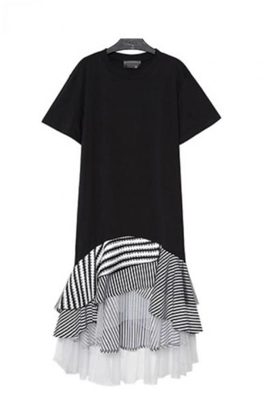 New Fashion Round Neck Short Sleeve Hybrid Panelled Striped Ruffles Chiffon Shift T-Shirt Asymmetrical Maxi Dress