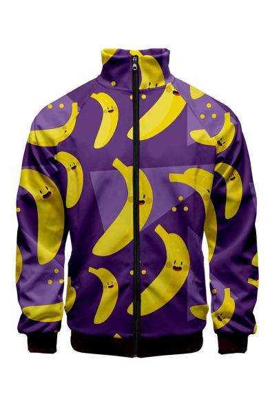 New Stylish 3D Banana Pattern Stand Collar Long Sleeve Zip Up Purple Baseball Jacket