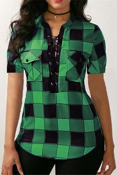 New Stylish Plaid Check Printed Short Sleeve Lace-Up Front Womens Fitted Blouse Top