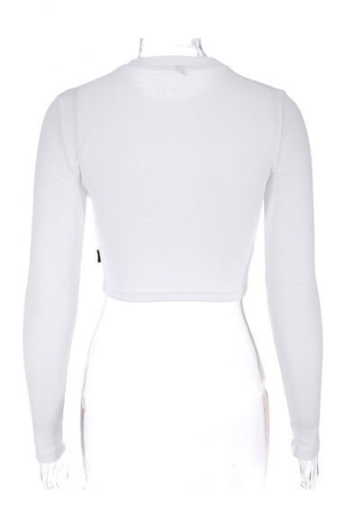 New Stylish Simple Plain Round Neck Long Sleeve Contrast Fitted White Tee