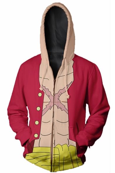 One Piece Comic 3D Printed Long Sleeve Drawstring Hooded Red Zip Up Cosplay Hoodie