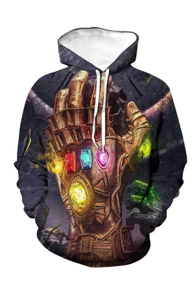 Popular Fashion The Infinity  Gauntlet 3D Printed Dark Grey Drawstring Hooded Loose Fit Pullover Hoodie