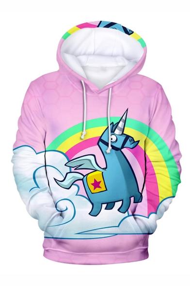 Popular Game Cartoon Unicorn Rainbow Cloud 3D Printed Unisex Pink Loose Fit Long Sleeve Pullover Hoodie