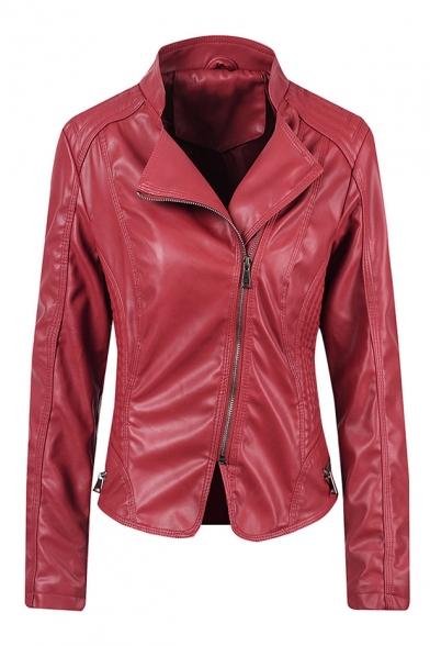 Punk Street Style Lapel Collar Long Sleeve Zip Front Cropped PU Jacket