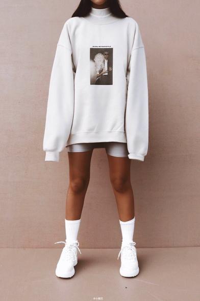 Street Style Portrait Letter Print Long Sleeve High Neck Beige Oversized Sweatshirt