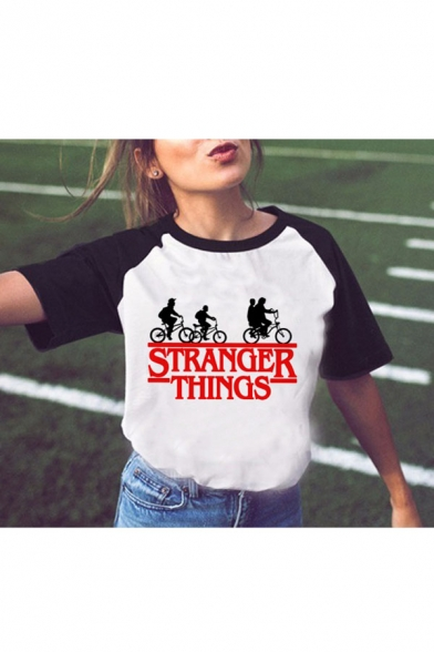 Summer Hot Fashion Raglan Sleeve Round Neck Letter Stranger Things Cartoon Printed T Shir, Color 1;color 2;color 3;color 4;color 5;color 6;color 7;color 8;color 9;color 10;color 11;color 12;color 13;color 14;color 15;color 16;color 17;color 18;color 19;co