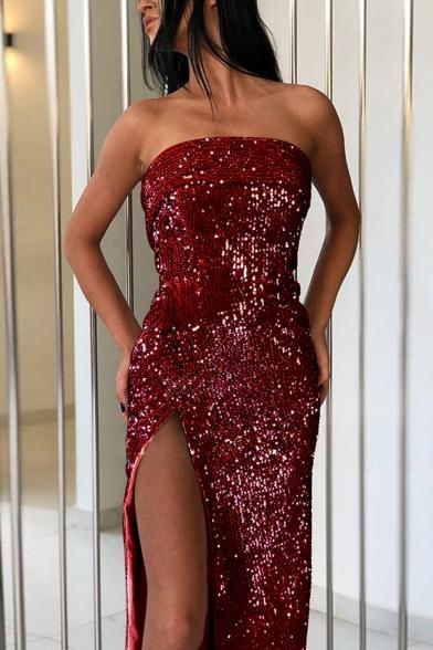 Summer Hot Fashion Strapless Sleeveless Sequined Split Front Wrap Enevning Dress