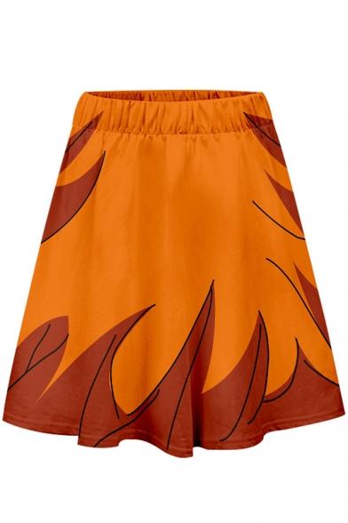 Summer Orange Elastic Waist Fire Printed Mini A-Line Skater Skirt