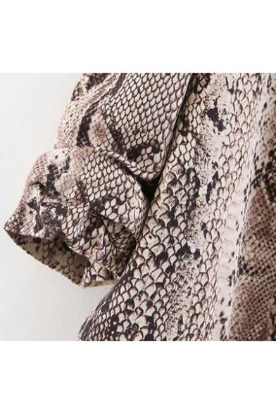 Trendy Khaki Snakeskin Printed Lapel Collar Casual Fitted Blazer Coat for Women