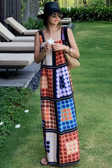 Vintage Color Block Polka Dot Pattern Sleeveless Maxi Strap Dress
