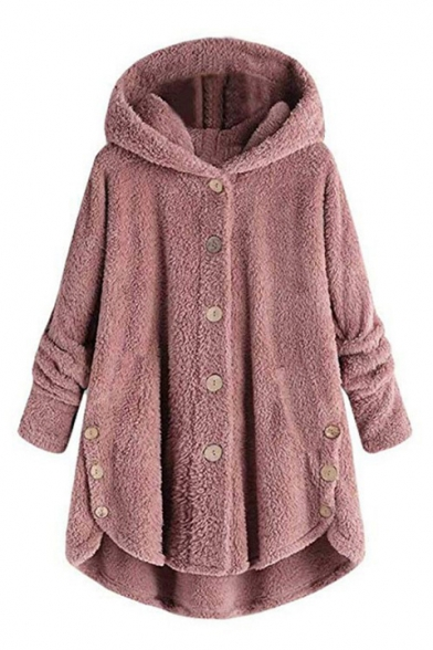 Winter Women's Popular Single Breasted Asymmetric Hem Hooded Longline Plain Plush Coat