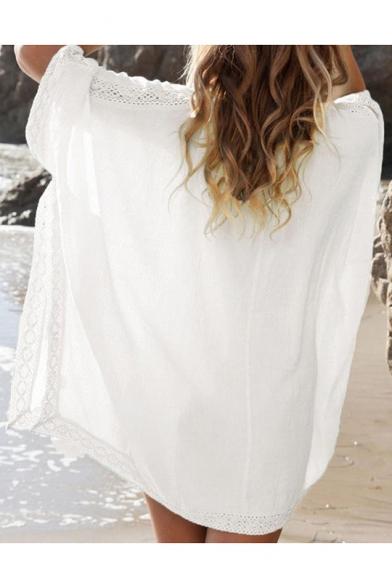 Women's Bat-wing Sleeve V-Neck Beach Bikini Cover Up White Loose Dress