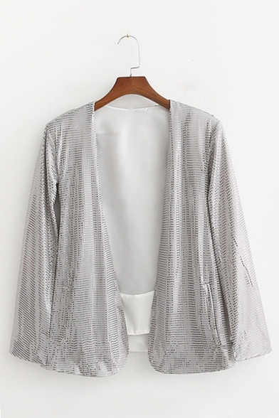 Women's Cool Glitter Silver Split Sleeve Sequined Cape Coat