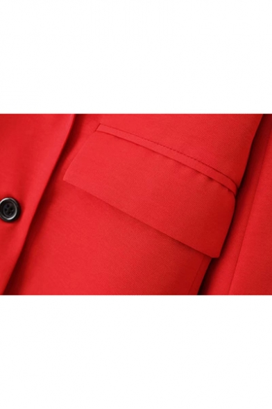 Women's Officer Notched Lapel Double-Breasted Flap Pocket Red Oversized Blazer