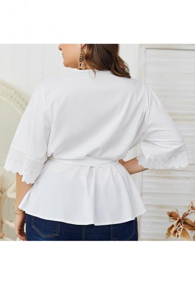 Women Sexy Loose Plunge Neck Half Sleeve Plain Bow-Tide Waist White Blouse Top