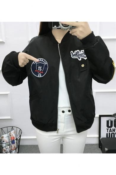 Women Thin Badge Appliqués Exaggerated Long Sleeve Flight Jacket