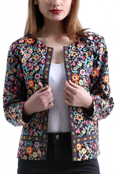 Womens Fancy Floral Printed Collarless Long Sleeve Open Front Fitted Jacket