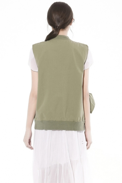 Womens Fashion Army Green Letter Patched Stand Collar Zip Up Sleeveless Vest Jacket