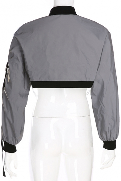 Womens Hip Hop Style Cool Grey Long Sleeve Chain Embellished Crop Bomber Jacket