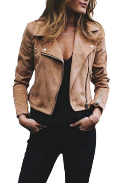 Womens Hot Fashion Simple Plain Notched Lapel Collar Long Sleeve Zip Up Wool Jacket