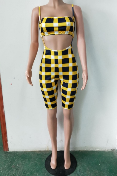 Womens Hot Stylish Yellow Check Print Bandeau Top with Skinny Suspender Shorts Two-Piece Set