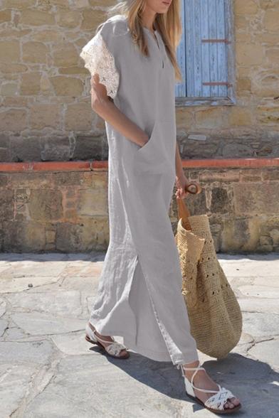 Womens Hot Trendy Lace-Trimmed Sleeve Split Side Plain Maxi Linen Dress