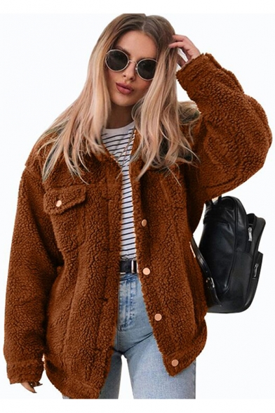 Womens New Stylish Simple Plain Lapel Collar Long Sleeve Button Down Faux Fur Teddy Jacket LM553337 фото