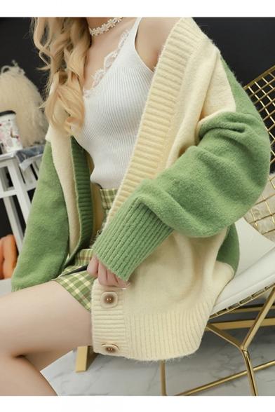 Womens Simple Patchwork Print Drop Sleeve V Neck Boxy Cardigan Coat