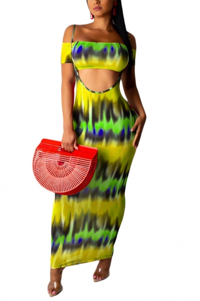 Womens Stylish Short Sleeve Bandeau Top with Strap Maxi Skirt Tie Dye Two Piece Set