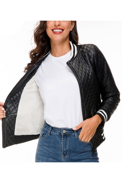 Womens Trendy Black Rib Stand Collar Long Sleeve Zip Up Padded Jacket