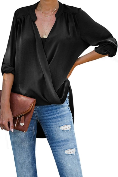 Womens Unique Solid Color V-Neck Long Sleeve Dipped Hem Wrapover Chiffon Blouse