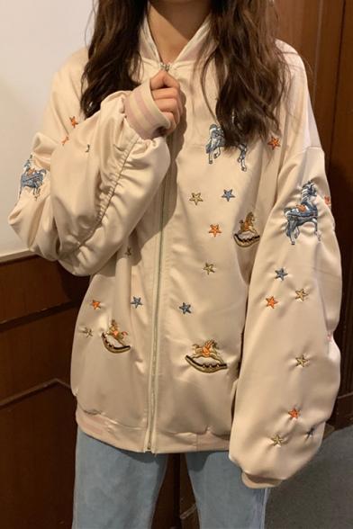 Cartoon Embroided Star Unicorn Embellished Stand Collar Longline Exaggerated Jacket Coat