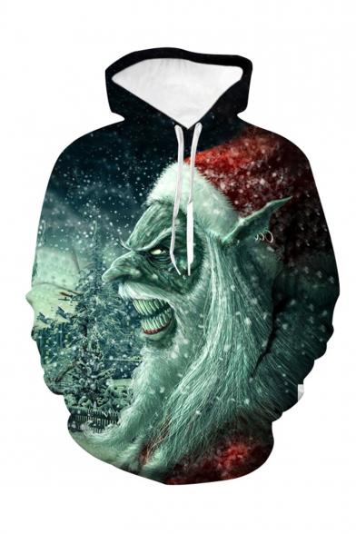 Christmas Popular Fashion Santa Claus 3D Printed Green Long Sleeve Casual Loose Pullover Hoodie