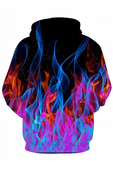 Cool Fashion Fire Wolf 3D Printed Drawstring Hooded Long Sleeve Pullover Drawstring Hoodie