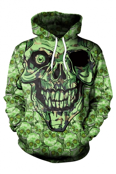 Cool Fashion Green Skull 3D Printed Long Sleeve Casual Loose Fit Drawstring Hoodie